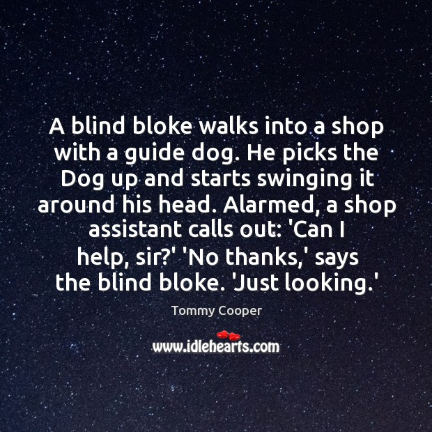 Image, A blind bloke walks into a shop with a guide dog. He