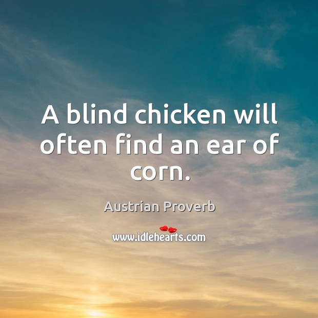 A blind chicken will often find an ear of corn. Austrian Proverbs Image