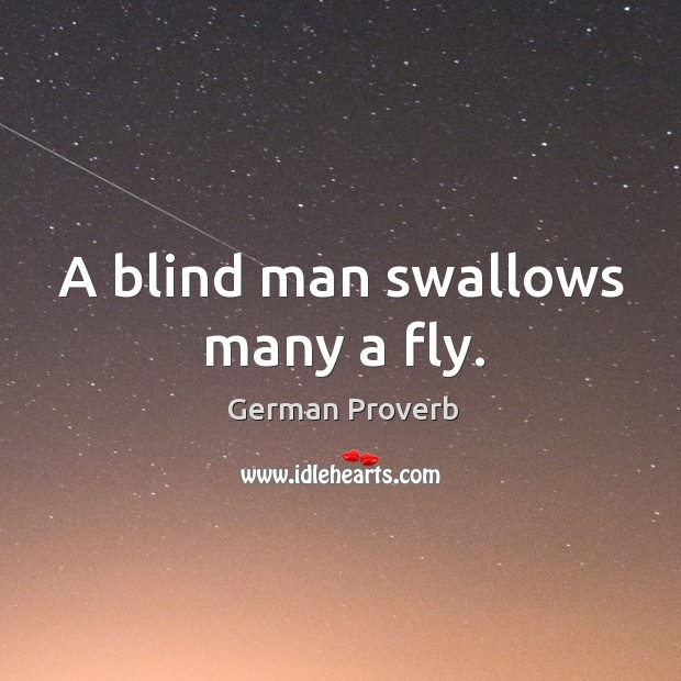 A blind man swallows many a fly. German Proverbs Image