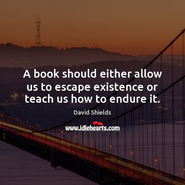 A book should either allow us to escape existence or teach us how to endure it. Image