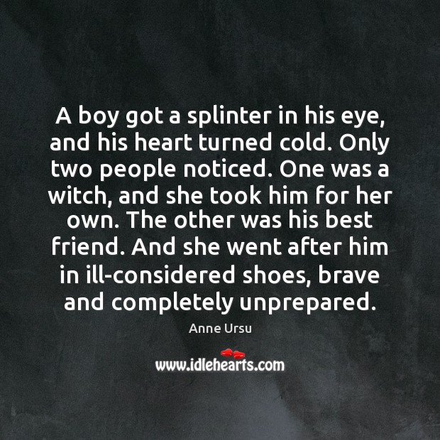 A boy got a splinter in his eye, and his heart turned Anne Ursu Picture Quote