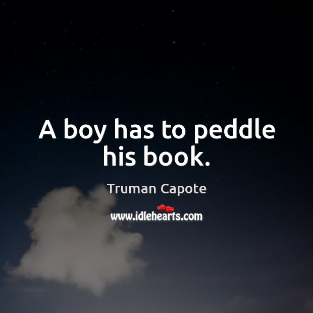Image, A boy has to peddle his book.