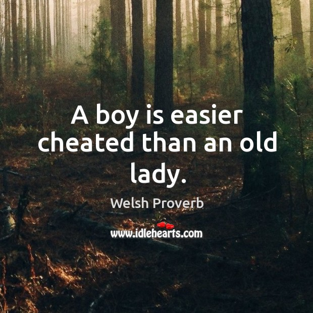 Image, A boy is easier cheated than an old lady.