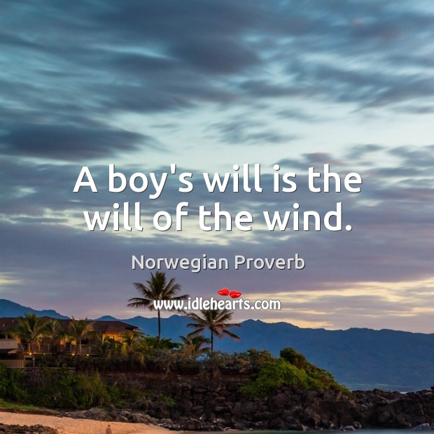 A boy's will is the will of the wind. Norwegian Proverbs Image