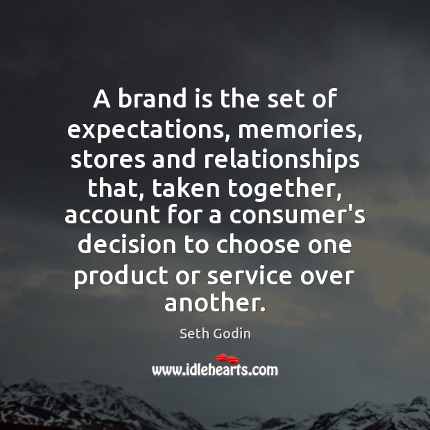 A brand is the set of expectations, memories, stores and relationships that, Seth Godin Picture Quote
