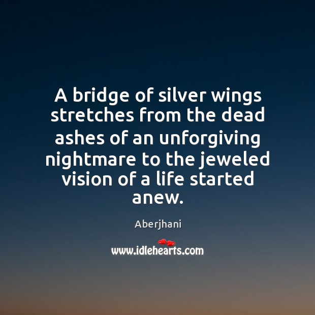 Image, A bridge of silver wings stretches from the dead ashes of an