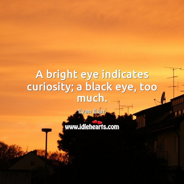 A bright eye indicates curiosity; a black eye, too much. Evan Esar Picture Quote