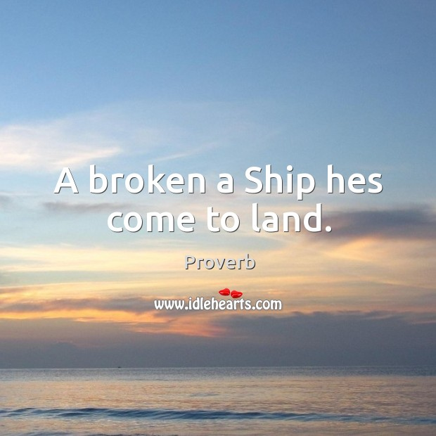 A broken a ship hes come to land. Image