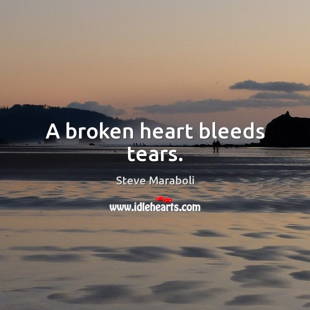 A broken heart bleeds tears. Image