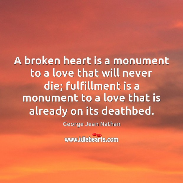 A broken heart is a monument to a love that will never Broken Heart Quotes Image