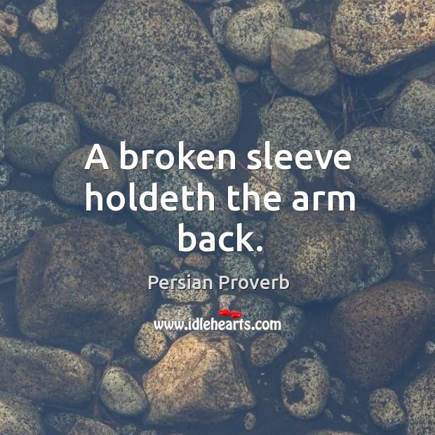 Image, A broken sleeve holdeth the arm back.