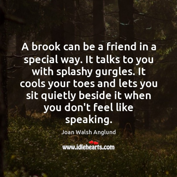 A brook can be a friend in a special way. It talks Joan Walsh Anglund Picture Quote