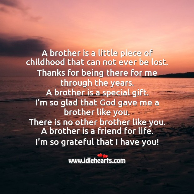 A brother is a little piece of childhood that can not ever be lost. Image