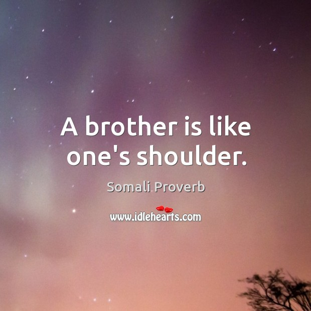 A brother is like one's shoulder. Somali Proverbs Image