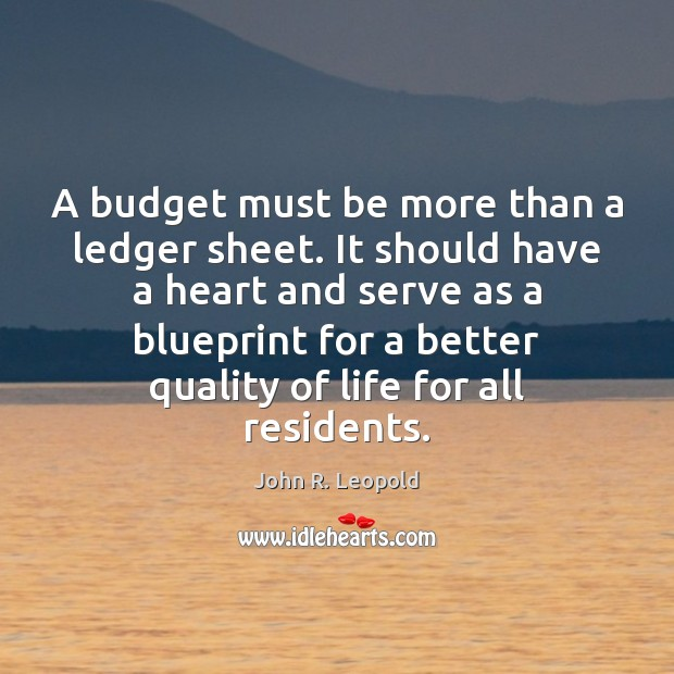 Image, A budget must be more than a ledger sheet. It should have