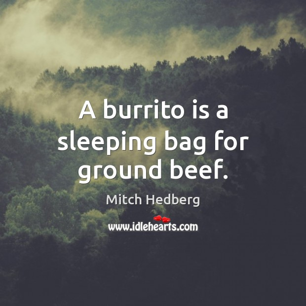 A burrito is a sleeping bag for ground beef. Image