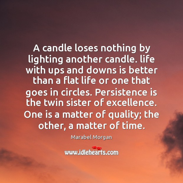 A candle loses nothing by lighting another candle. life with ups and Persistence Quotes Image