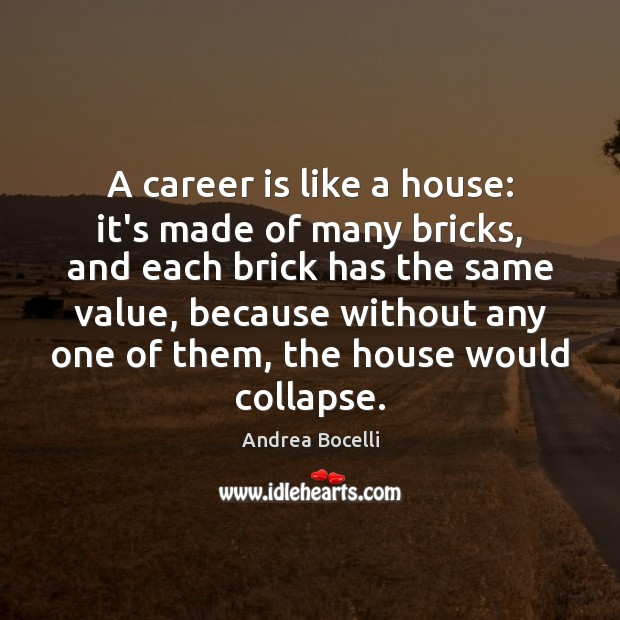 A career is like a house: it's made of many bricks, and Andrea Bocelli Picture Quote