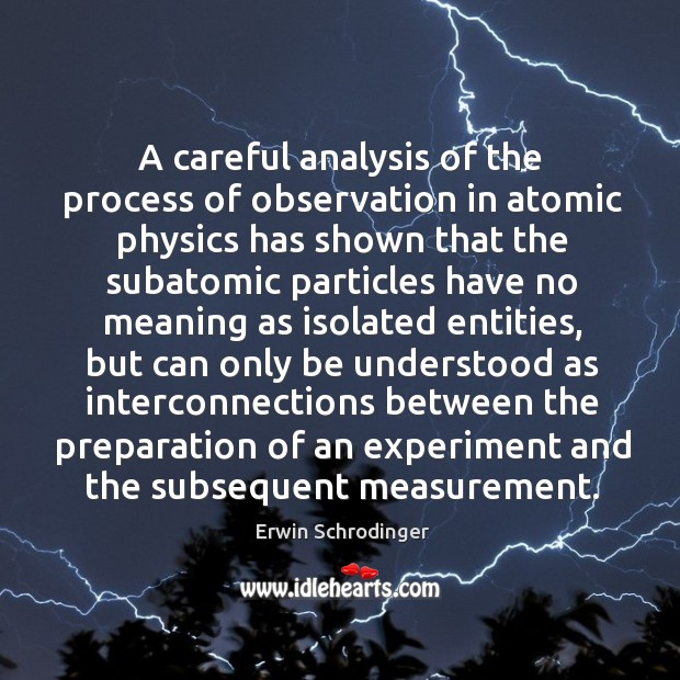 A careful analysis of the process of observation in atomic physics has shown that the subatomic Erwin Schrodinger Picture Quote