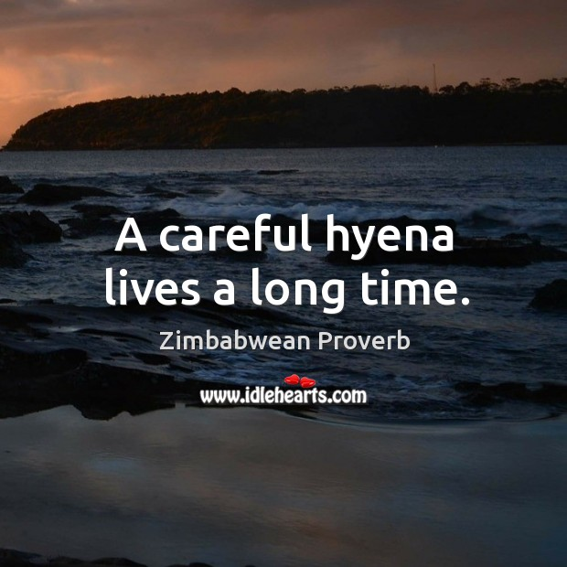 A careful hyena lives a long time. Zimbabwean Proverbs Image