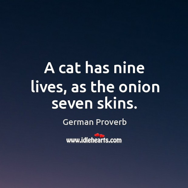 A cat has nine lives, as the onion seven skins. German Proverbs Image