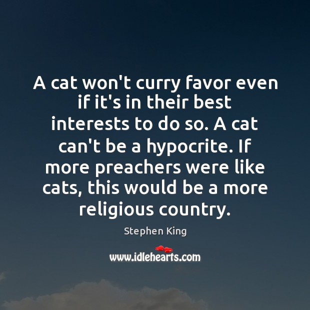 A cat won't curry favor even if it's in their best interests Stephen King Picture Quote