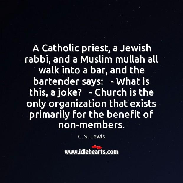 A Catholic priest, a Jewish rabbi, and a Muslim mullah all walk Image
