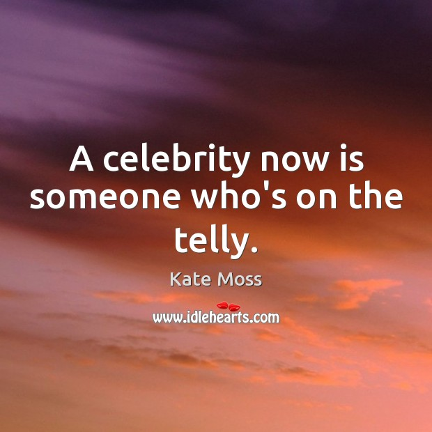 A celebrity now is someone who's on the telly. Kate Moss Picture Quote