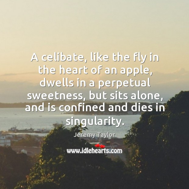 A celibate, like the fly in the heart of an apple Image