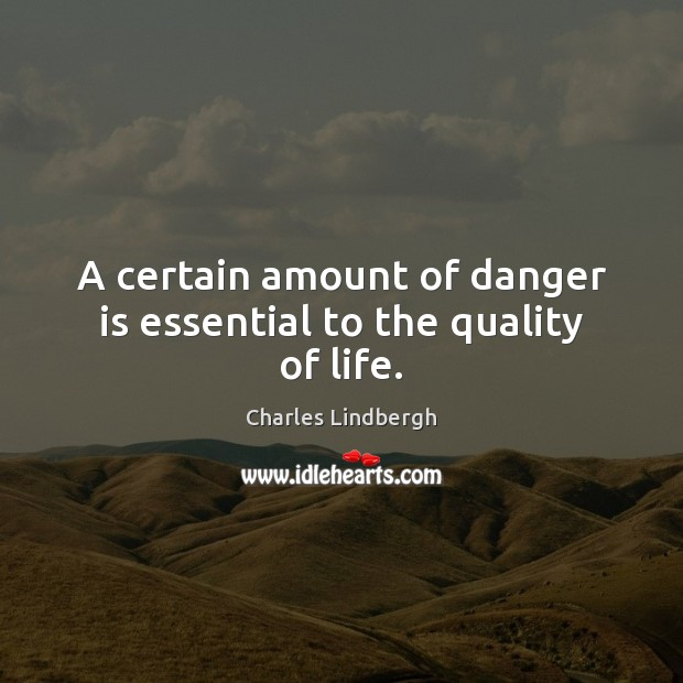 Image, A certain amount of danger is essential to the quality of life.