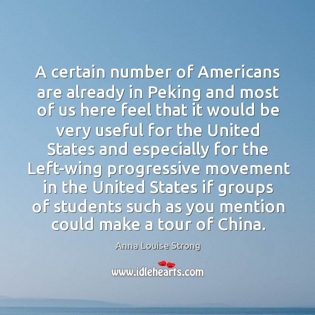 Image, A certain number of americans are already in peking