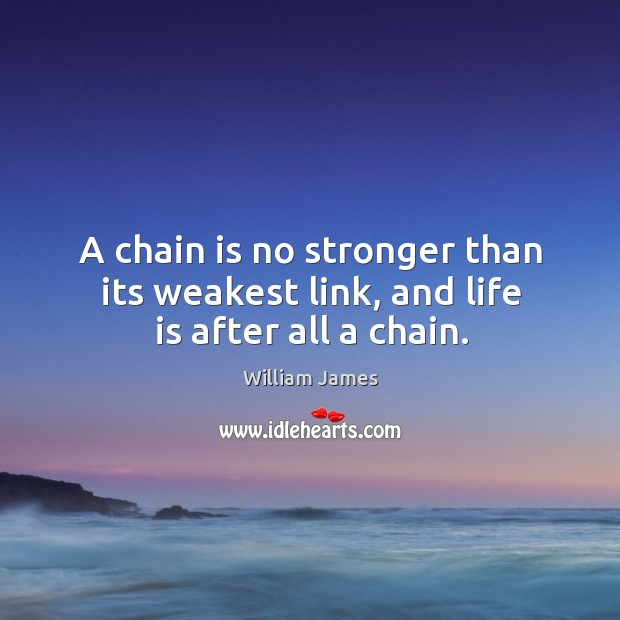 A chain is no stronger than its weakest link, and life is after all a chain. Image