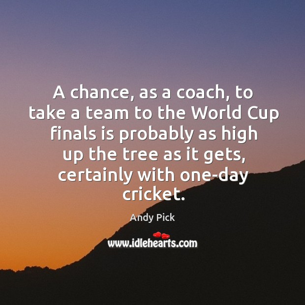 Image, A chance, as a coach, to take a team to the world cup finals is probably as