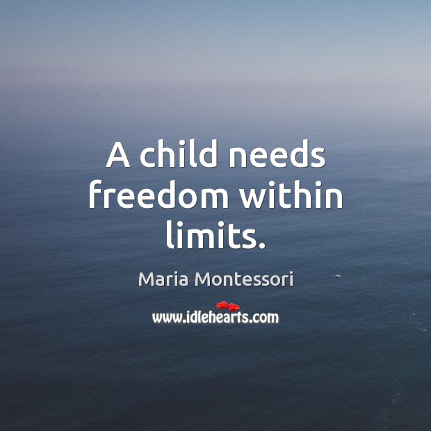 A child needs freedom within limits. Image