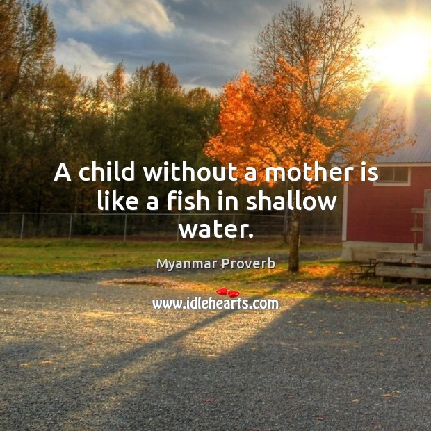 A child without a mother is like a fish in shallow water. Image
