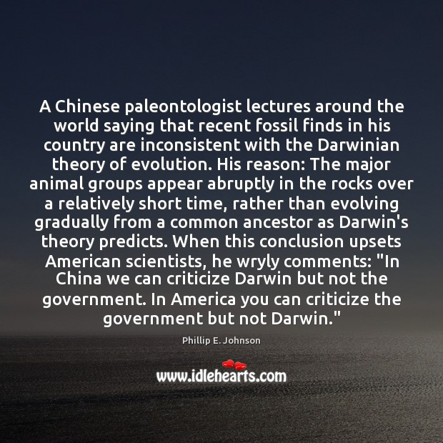 Image, A Chinese paleontologist lectures around the world saying that recent fossil finds