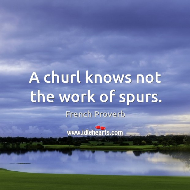 Image, A churl knows not the work of spurs.