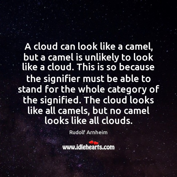 A cloud can look like a camel, but a camel is unlikely Image