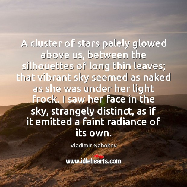 A cluster of stars palely glowed above us, between the silhouettes of Vladimir Nabokov Picture Quote