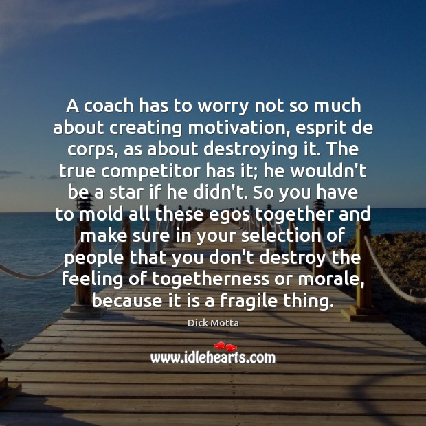 Image, A coach has to worry not so much about creating motivation, esprit