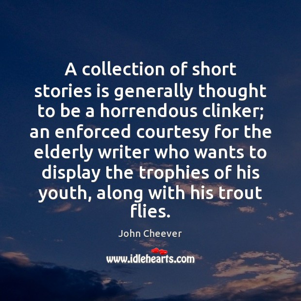 A collection of short stories is generally thought to be a horrendous John Cheever Picture Quote