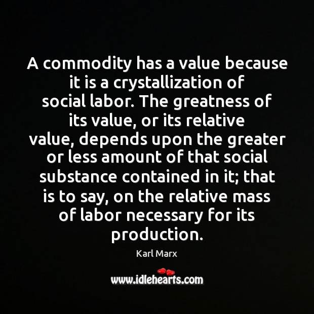 Image, A commodity has a value because it is a crystallization of social