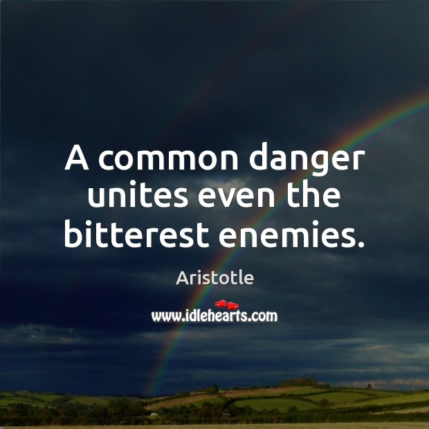 A common danger unites even the bitterest enemies. Image