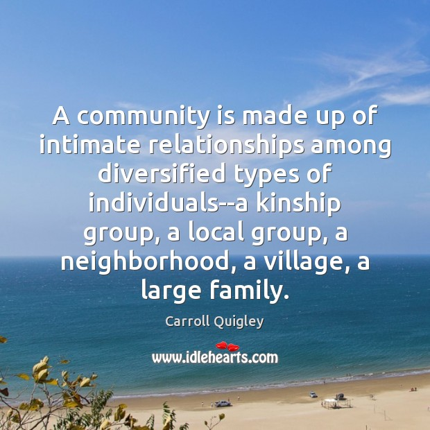 A community is made up of intimate relationships among diversified types of Carroll Quigley Picture Quote