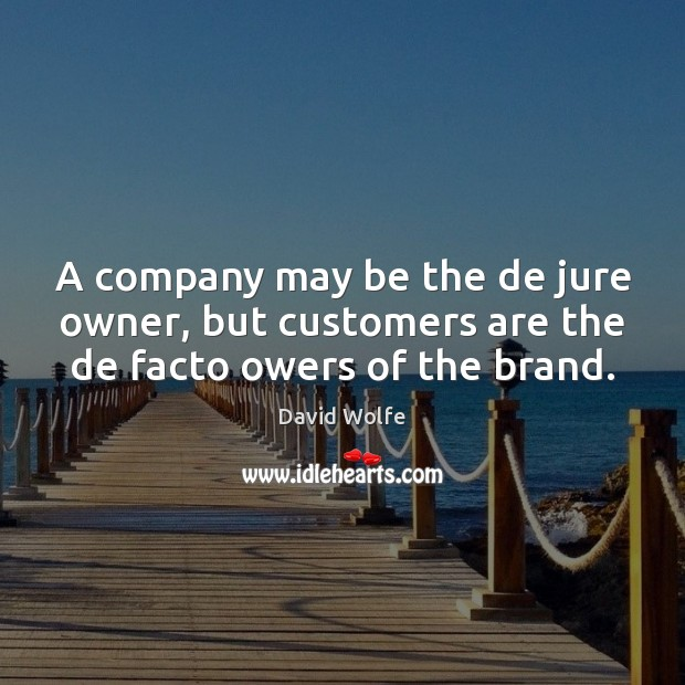 A company may be the de jure owner, but customers are the de facto owers of the brand. David Wolfe Picture Quote