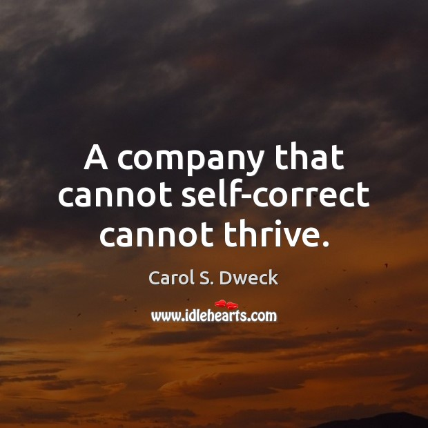 A company that cannot self-correct cannot thrive. Image