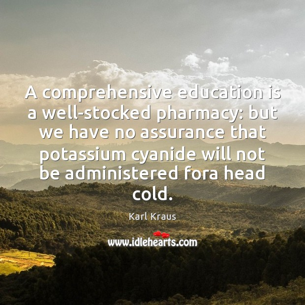 A comprehensive education is a well-stocked pharmacy: but we have no assurance Education Quotes Image