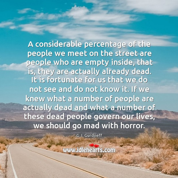 A considerable percentage of the people we meet on the street are G. I. Gurdjieff Picture Quote