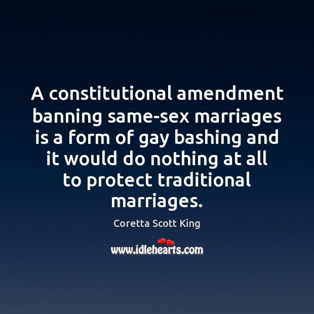 Image, A constitutional amendment banning same-sex marriages is a form of gay bashing