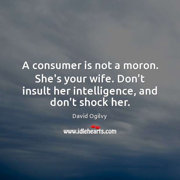 A consumer is not a moron. She's your wife. Don't insult her Insult Quotes Image
